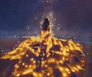 light, dress, and stars image