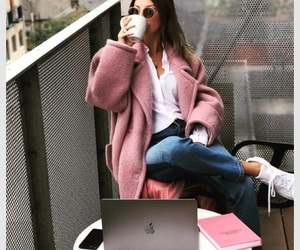 coat, pink, and winter image