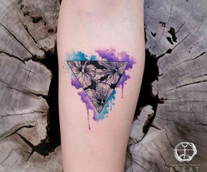 ink, tattoo, and triangle image