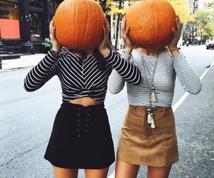 fall, girl, and pumpkin image