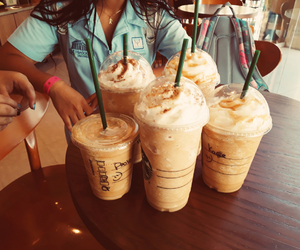girls, friends, and latte image