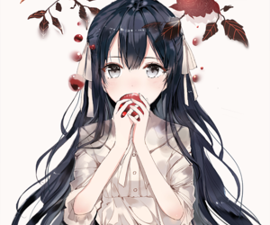 anime, girl, and leafs image