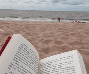 beach, blue, and books image