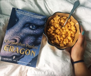 books, breakfast, and dragon image