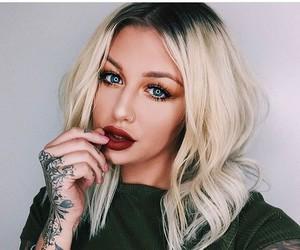 blonde hair, blue eyes, and bracelets image
