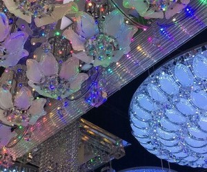 chandalier, colors, and holographic image