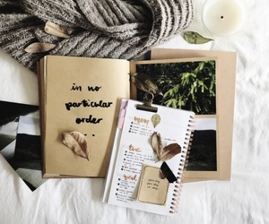 art, diary, and leaves image