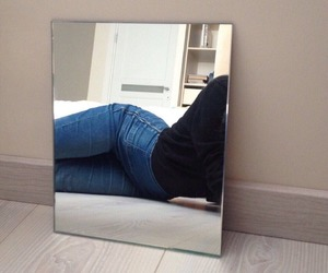 girl, jeans, and mirror image