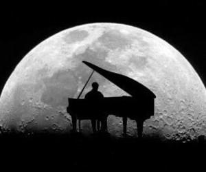 piano, moon, and music image