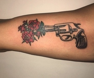 tattoo, rose, and gun image
