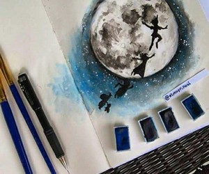 art, peter pan, and moon image