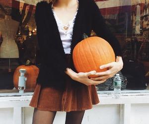 autumn, girl, and pumpkin image