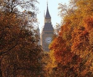 autumn, Big Ben, and london image
