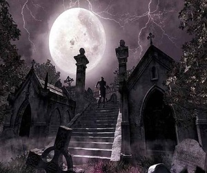 moon, night, and cemetery image