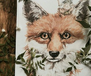 illustration, fox, and watercolor image