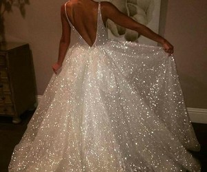 dress, wedding, and glitter image