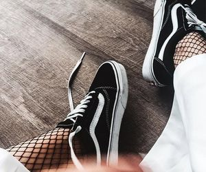 black and white, fashion, and vans old skool image