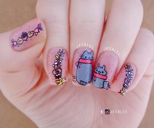 cat, nail art, and nail polish image