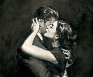 couple, art, and hug image