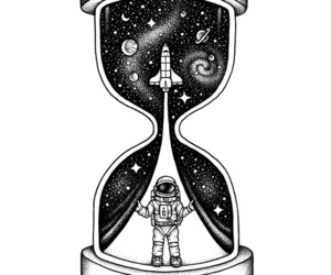 astronaut, black and white, and illustration image