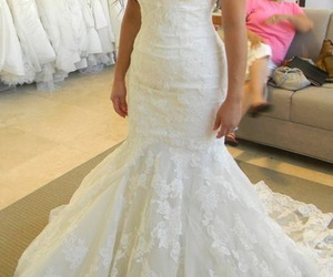 wedding ideas, mermaid wedding dress, and fit to flare dress image