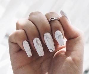 white, nails, and marble image
