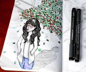 autumn, illustration, and ink image