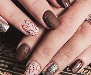 nails, autumn, and brown image