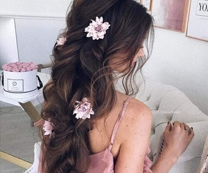 flowers, wavy hair, and hair image