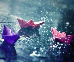 rain, boat, and water image