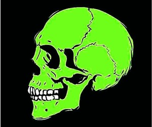 black background, side view, and skull image