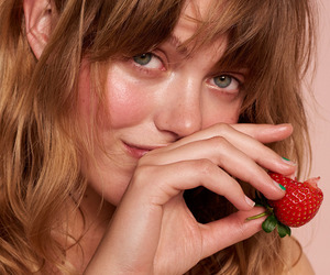 girl, model, and strawberry image