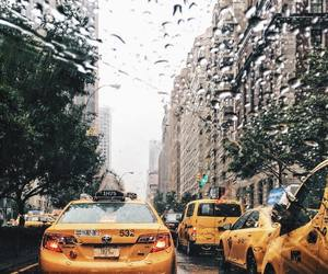 city, rain, and buildings image