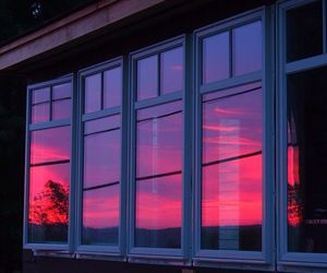 sunset, window, and pink image