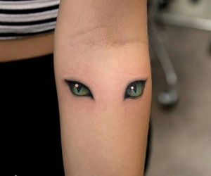 tattoo, eyes, and cat image