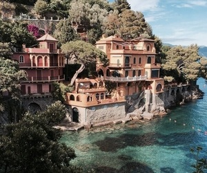 travel, house, and sea image