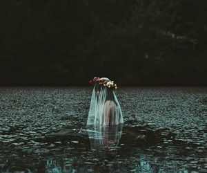dark, flowers, and girl image