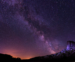 milky way, night, and night sky image