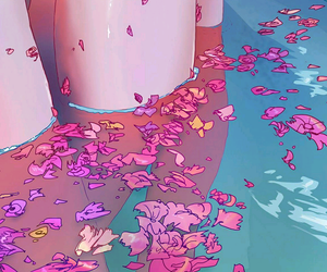 flowers, art, and water image