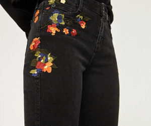 black, flowers, and pants image
