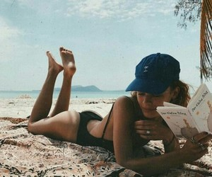 beach, book, and girl image