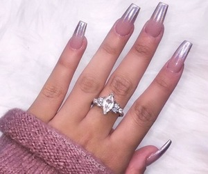 nails, pink, and jewels image
