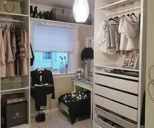closet, clothes, and decor image