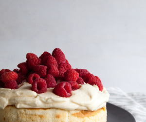 cake, food, and raspberries image