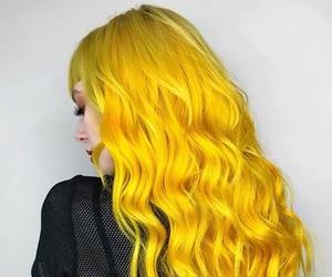 hair, yellow, and girl image