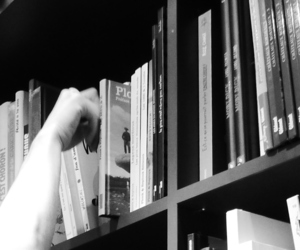 black and white, book, and hand image