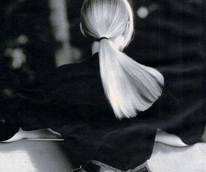black and white, blonde, and fashion image