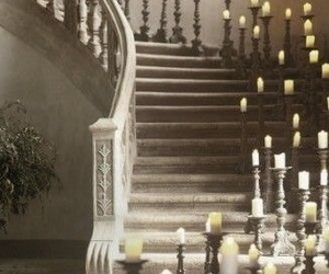 candle, stairs, and black and white image