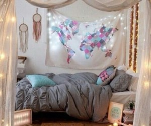 dream catcher, map, and lights image