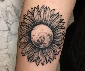 tattoo, moon, and flower image
